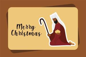 merry christmas melchior praying with gift greeting card vector