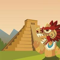 aztec warrior traditional ancient snake pyramid culture vector
