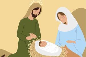 nativity mary joseph and baby in the crib manger vector