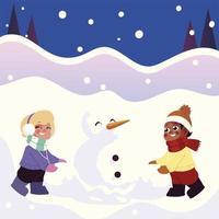 lindo niño y niña haciendo un muñeco de nieve en la escena de invierno vector