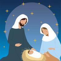 nativity, mary joseph baby jesus manger charcacters vector
