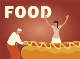 happy man and woman with hot dog with mustard food vector