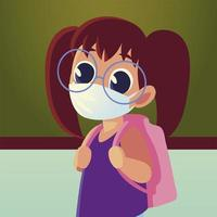 Back to school of girl kid with medical mask and glasses vector design