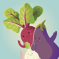 Verduras kawaii lindo berenjena remolacha cebolla estilo de dibujos animados vector