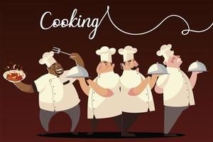 cartoon characters chef group cook dish dinner vector