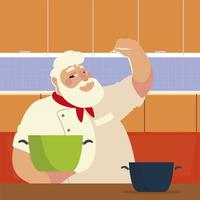 bearded chef cooking with pot professional restaurant vector