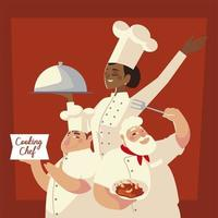 chefs group with food and dish worker professional restaurant vector