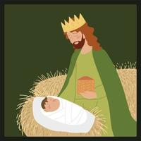 nativity baby jesus with balthazar wise king manger vector