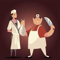chefs chinos masculinos y femeninos con pescado y cuchillo vector