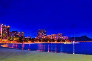 Waikiki night view Honolulu Hawaii photo