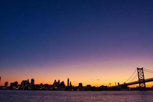 Evening view of downtown Philadelphia, USA photo