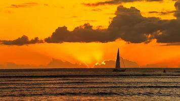 Sunset of Waikiki Beach Honolulu Hawaii photo
