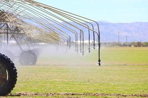 Watering nozzles and mountains in the suburbs of Los Angeles, USA photo