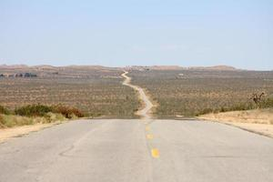 A straight road in the desert of California, USA photo