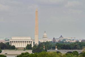 vista de washington dc, memorial de lincoln, monumento de washington, capitolio foto