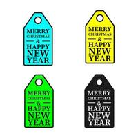 Christmas and New Year gift tag stickers set. vector