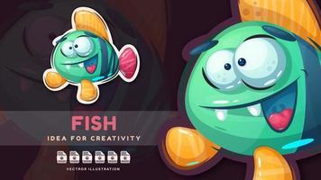 Cartoon character animal fish - cute sticker vector