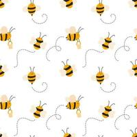 Cute child seamless hand drawn pattern with flying bees vector