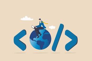 Website development, www application coding, technology create online vector