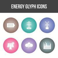 Energy Glyph Vector Icon Set