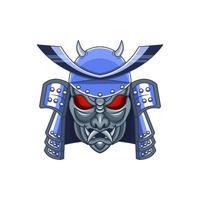 Samurai helmet with oni mask vector