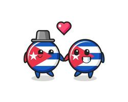 cuba flag badge cartoon character couple with fall in love gesture vector