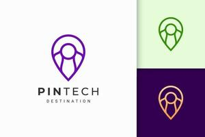 Pin logo or marker in simple line and modern represent map or position vector