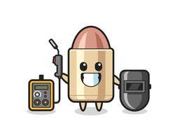 Character mascot of bullet as a welder vector