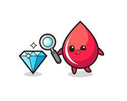mascota de la gota de sangre está comprobando la autenticidad de un diamante vector