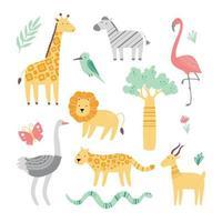 Set of cute african zoo animals vector
