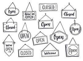 Hand drawn open door sign vector