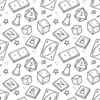 Hand drawn seamless pattern of board game vector