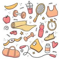 Hand drawn set of fitness, gym equipments vector