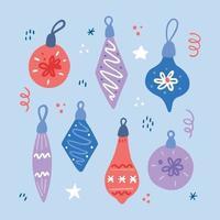 Set of Christmas decoration ball illustation. vector