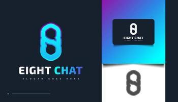 Diseño de logotipo número ocho con símbolo de chat o mensaje vector