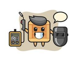Character mascot of wooden box as a welder vector
