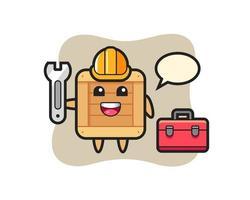 Mascot cartoon of wooden box as a mechanic vector
