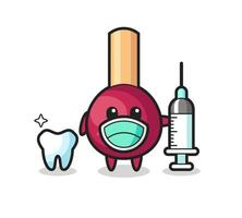 Mascot character of matches as a dentist vector