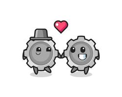 gear cartoon character couple with fall in love gesture vector