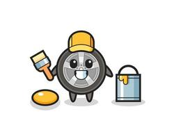 Character Illustration of car wheel as a painter vector