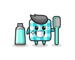 Mascot Illustration of checkered tablecloth with a toothbrush vector