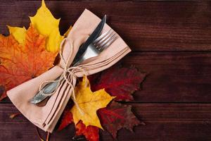 Happy Thanksgiving Day. Cutlery setting for festive dinner photo