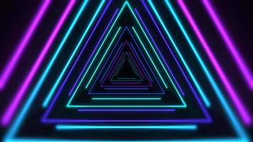 Motion colorful neon triangles on abstract background video
