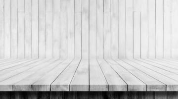 piso de madera blanca y fondos de madera de la pared foto
