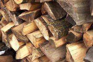 Close-up of stack of chopped firewood logs or woodpile photo