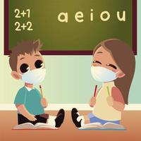 Back to school of girl and boy with medical masks vector design