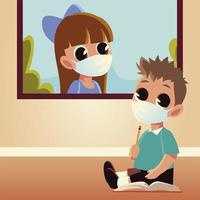 Back to school of girl and boy kid with medical masks vector design