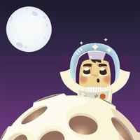 space astronaut planet and moon explore cartoon vector