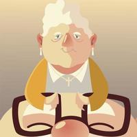 personas mayores, linda anciana con rostro anciano con gafas vector