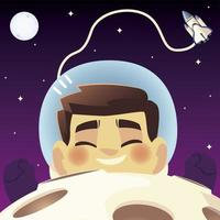 space floating astronaut spaceship planet and moon cartoon vector